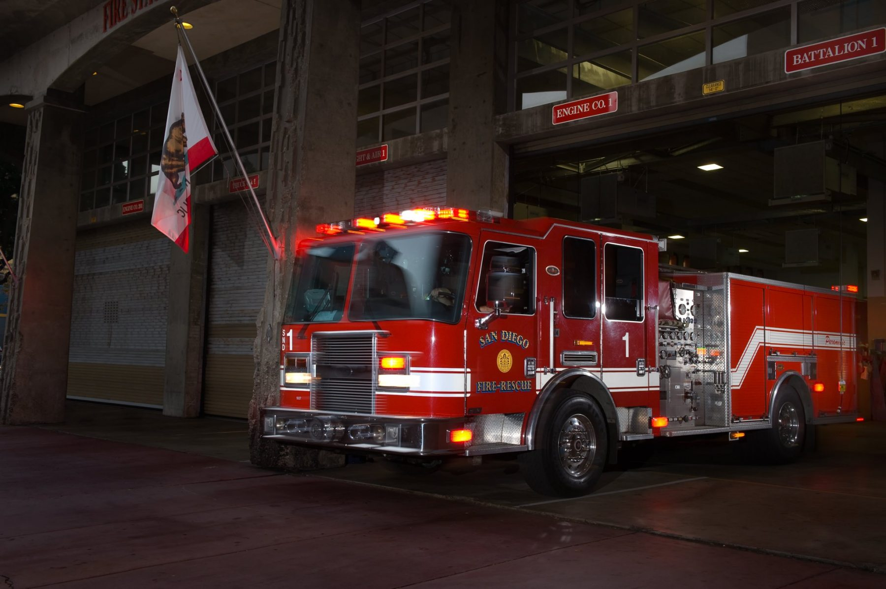 SDFD Engine 1 at Station 1