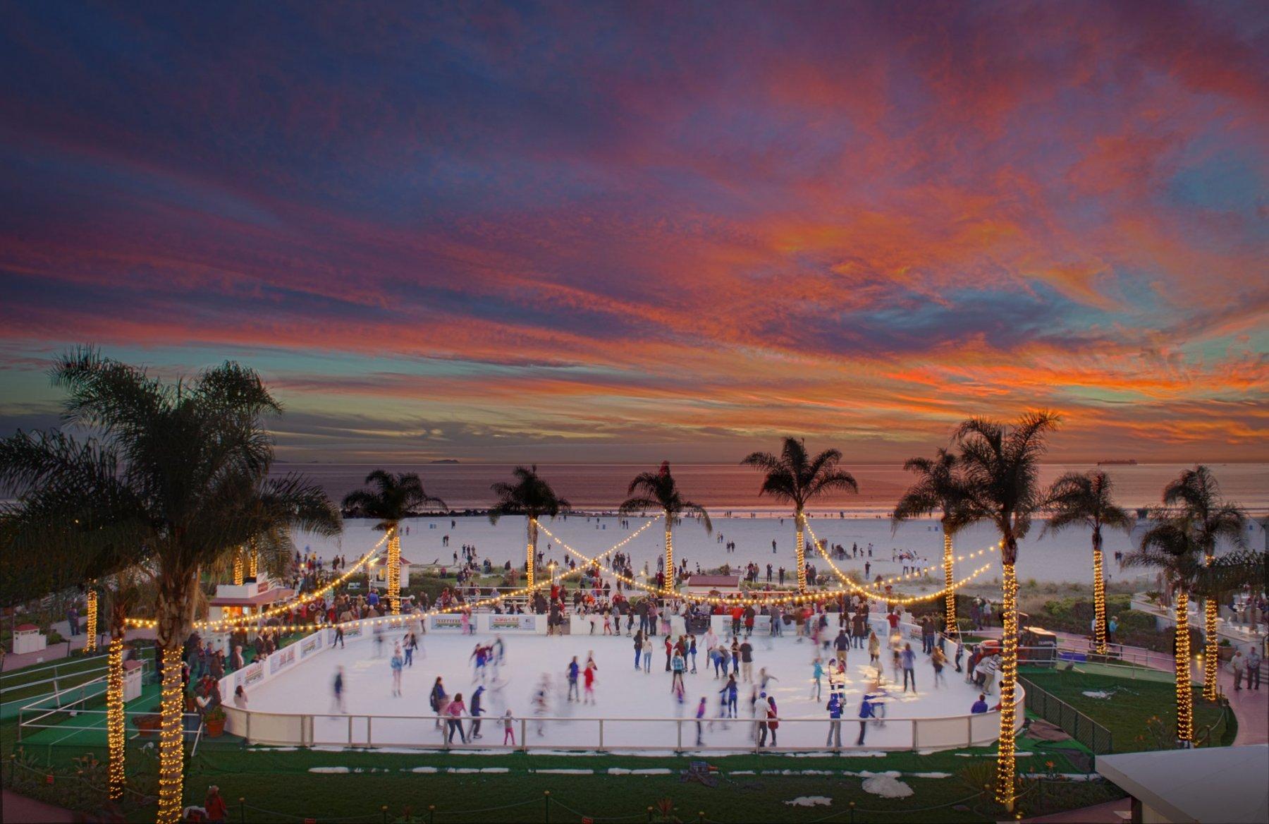 Ice skating at the Hotel del Coronado
