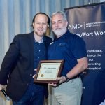 AMA DFW Brad McCormick presents William Morton with a Volunteer of the Month award in Dallas Texas