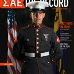 United States Marine LCpl Jason Fincher photographed in his dress blues for an SAE magazine cover