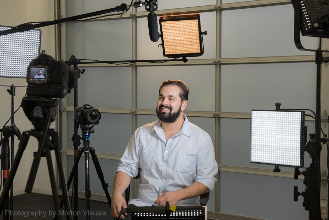 video interview setup in the studio